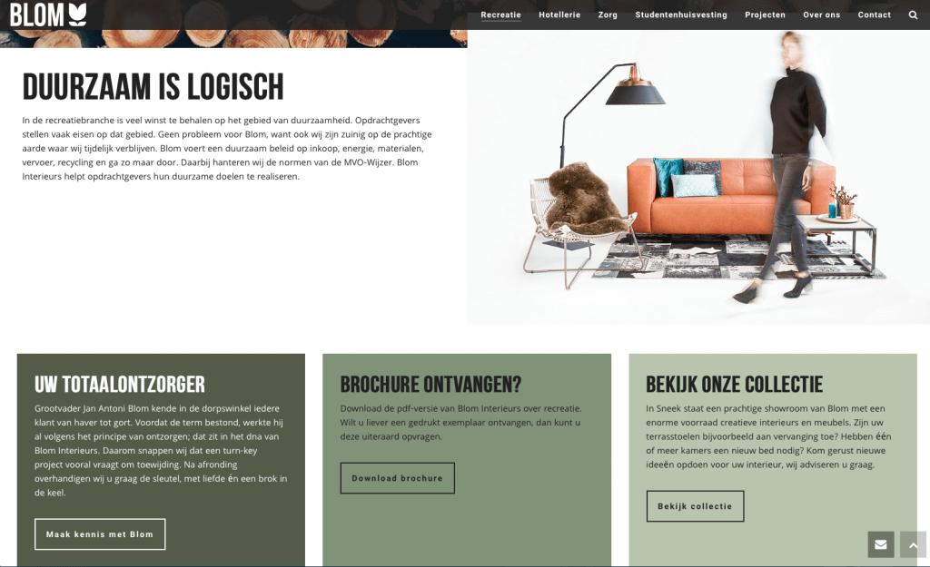 Website Blom Interieurs, tekst: Jeroen Tollenaar