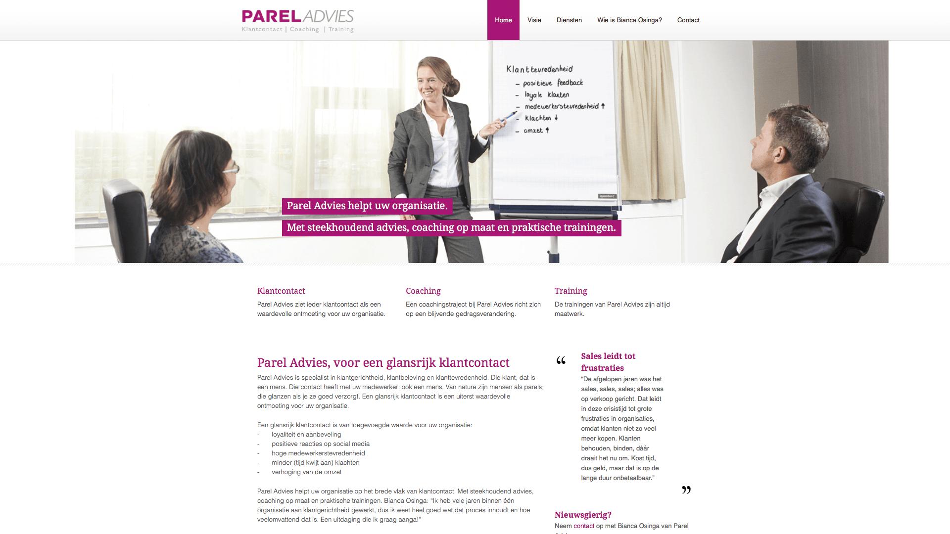 website Parel Advies, tekst en productiebegeleiding: Jeroen Tollenaar, Een Zaak Van Communicatie