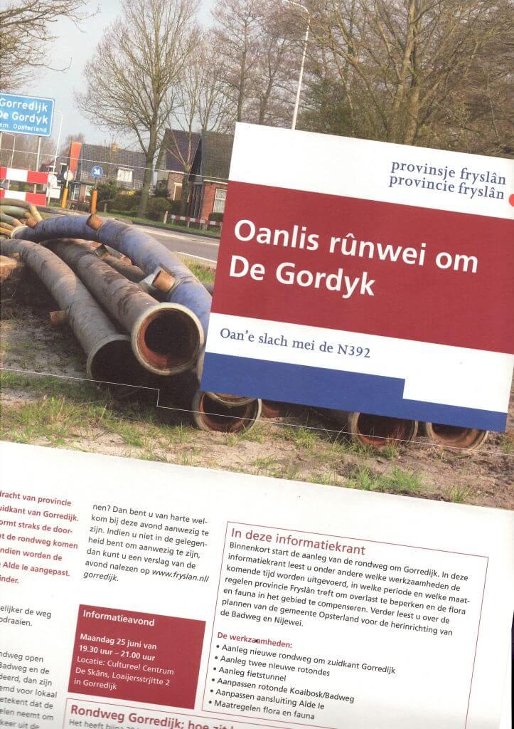 Nieuwsbrief aanleg rondweg Gorredijk. Tekst: Jeroen Tollenaar