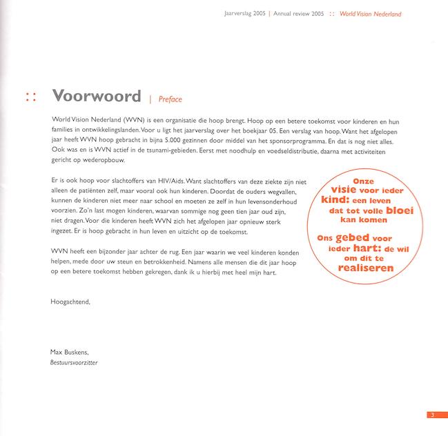World Vision jaarverslag 2005. Tekst en redactie: Jeroen Tollenaar