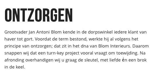 Website Blom Interieurs - ontzorgen