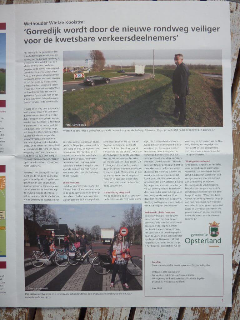 Nieuwsbrief Rondweg Gorredijk, tekst: Jeroen Tollenaar