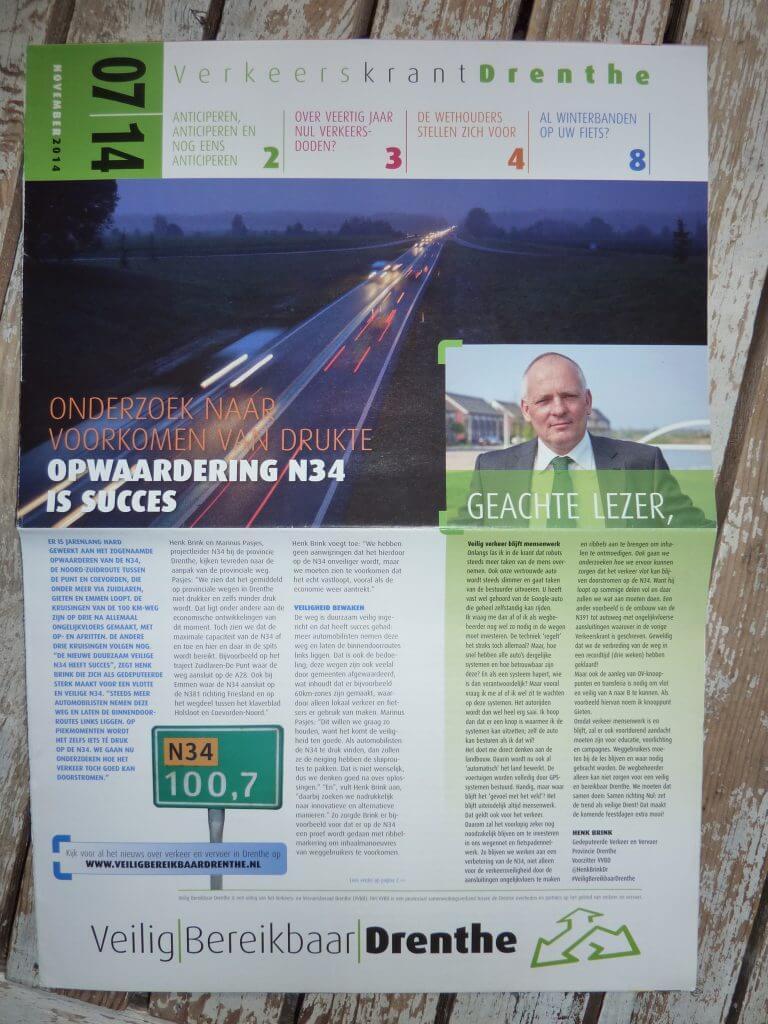 Verkeerskrant Drenthe, tekst: Jeroen Tollenaar