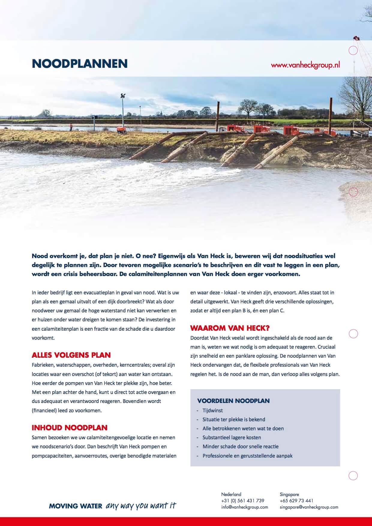 VAN HECK, leaflet noodplannen (achterkant)