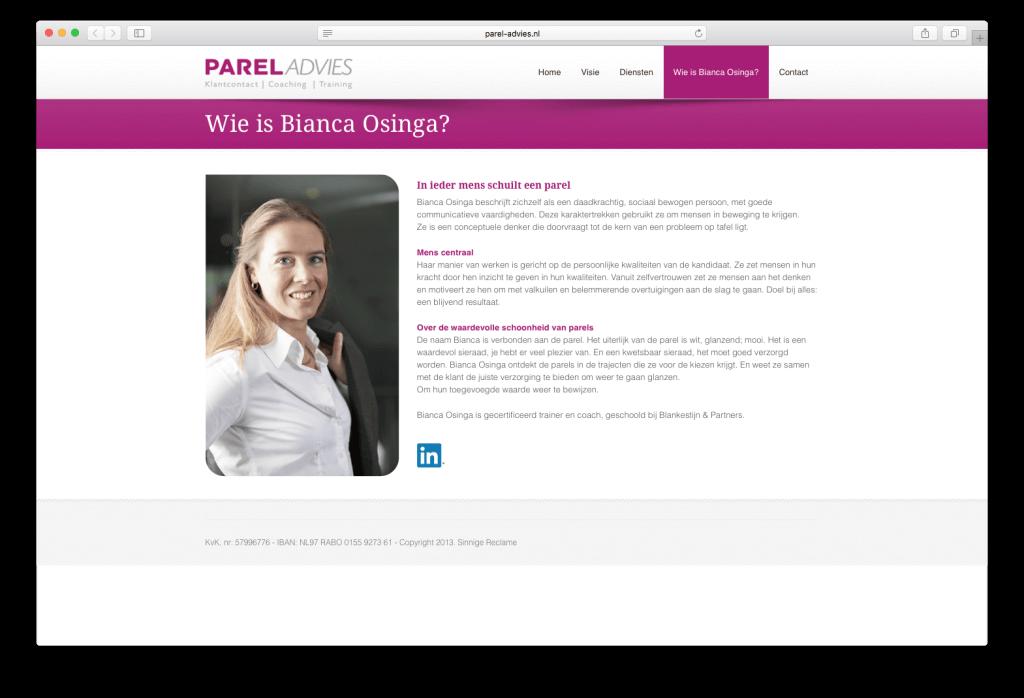 Website Parel Advies, Wie is Bianca Osinga?