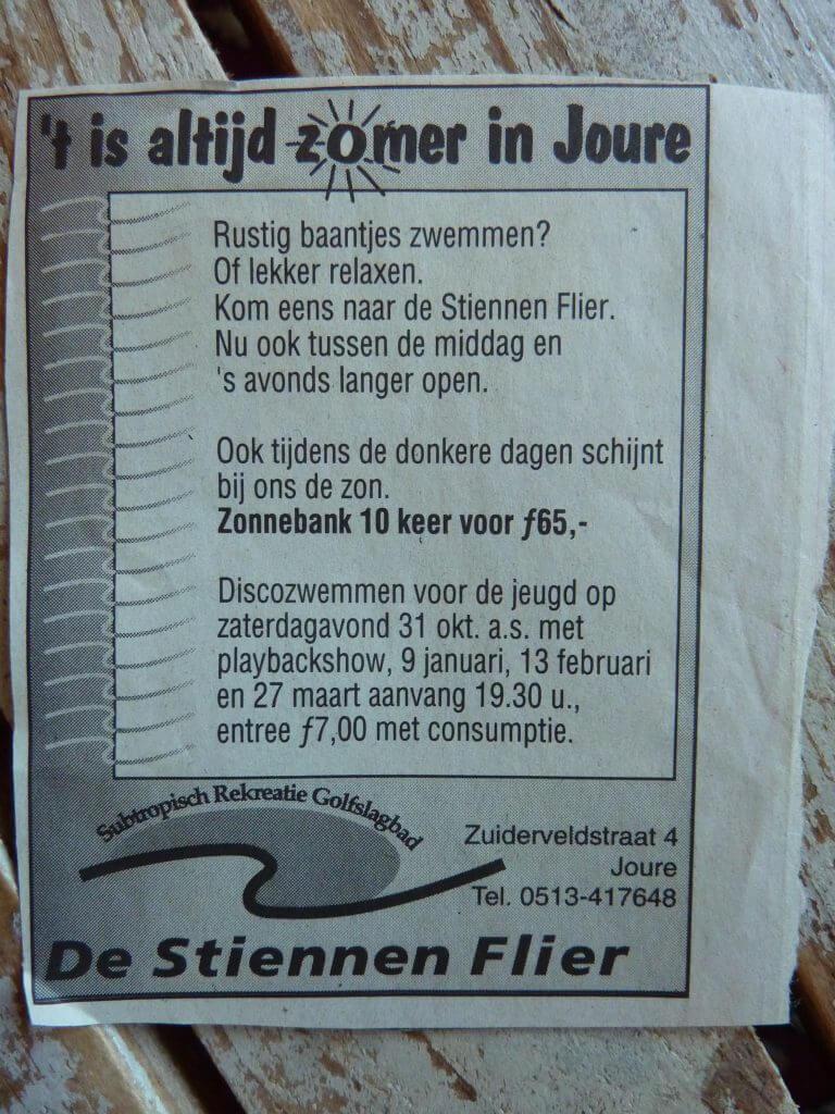 Een Zaak Van Communicatie - Jeroen Tollenaar, De Stiennen Flier, slogan 't is altijd zomer in Joure 1