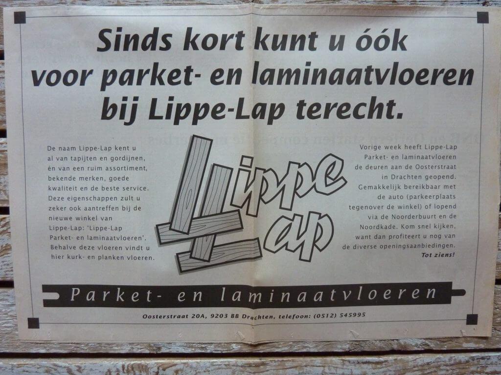 Een Zaak Van Communicatie - Jeroen Tollenaar, Lippe-Lap Parketvloeren, advertentie introductie 1, i.o.v. Bokma Reclame