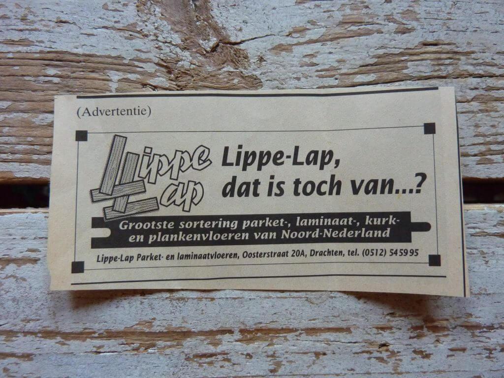 Een Zaak Van Communicatie - Jeroen Tollenaar, Lippe-Lap Parketvloeren, advertentie introductie 2, i.o.v. Bokma Reclame