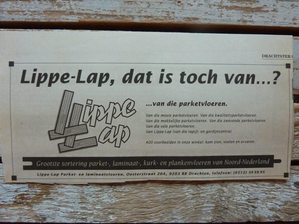 Een Zaak Van Communicatie - Jeroen Tollenaar, Lippe-Lap Parketvloeren, advertentie introductie 6, i.o.v. Bokma Reclame