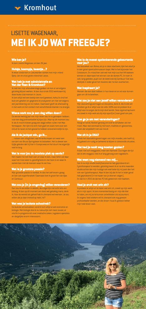 Een Zaak Van Communicatie - Kromhout dec 2018 - rubriek Mei Ik Jo Wat Freegje